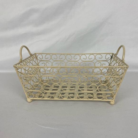 Vintage Cream Wire Metal Basket